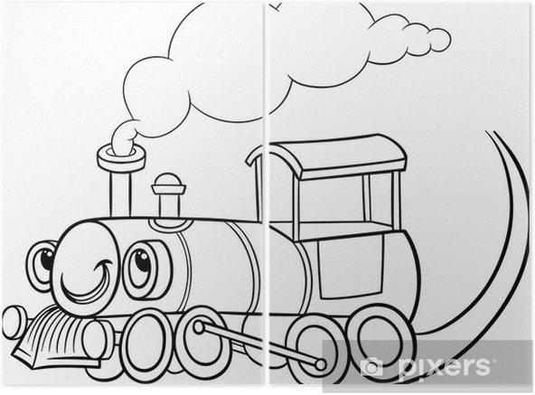Karikatur Lokomotif Veya Motor Boyama Iki Parcali Pixers