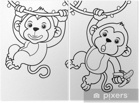 Karikatür Maymun Illüstrasyon Kitap Boyama Iki Parçalı Pixers