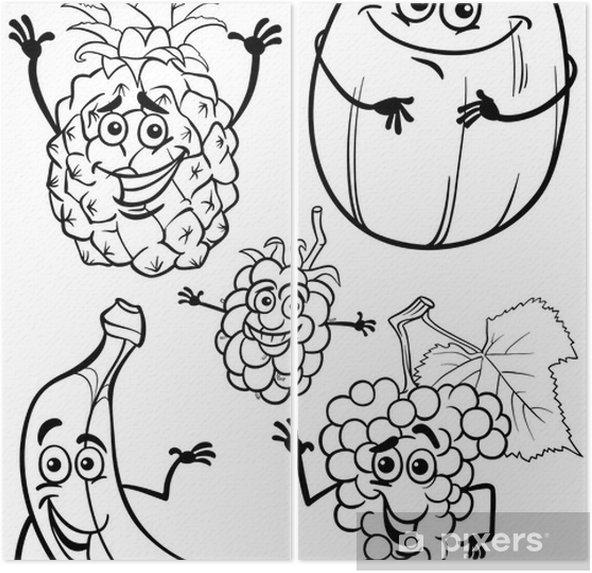 Karikatür Meyve Boyama Kitabı Için Belirlenen Iki Parçalı Pixers
