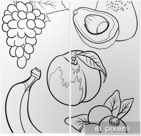 Karikatur Meyve Boyama Kitabi Icin Belirlenen Iki Parcali Pixers
