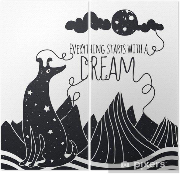 İki Parçalı Köpek aya bakarak sevimli romantik vektör çizim. Her şey bir rüya ile başlar. Yıldızlar, dağlar ve bulutlar. - Hayvanlar