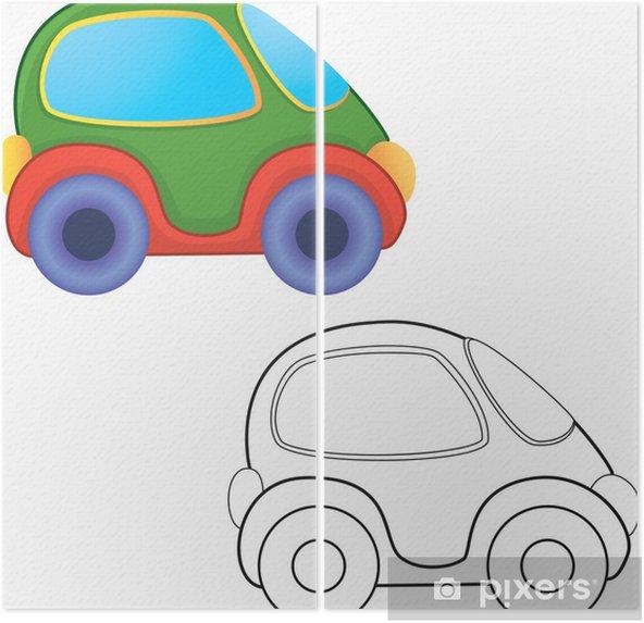 Vektor Oyuncak Araba Boyama Kitabi Iki Parcali Pixers Haydi