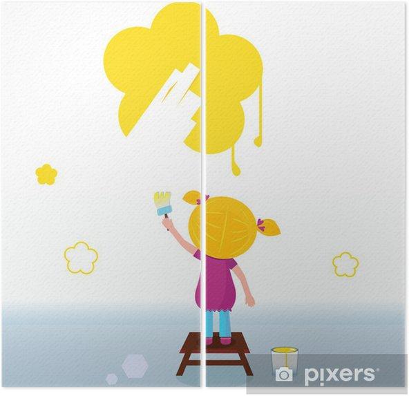 Wall Sarı Bahar çiçek Boyama Küçük Bir çocuk Vektör Iki Parçalı