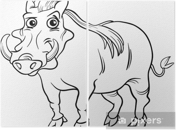 Warthog Hayvan Karikatur Boyama Kitabi Iki Parcali Pixers