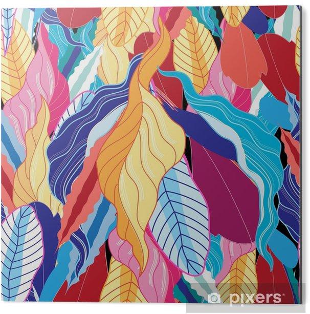 Impressão em Alumínio (Dibond) Padrão sem costura com folhas. - Plantas e Flores
