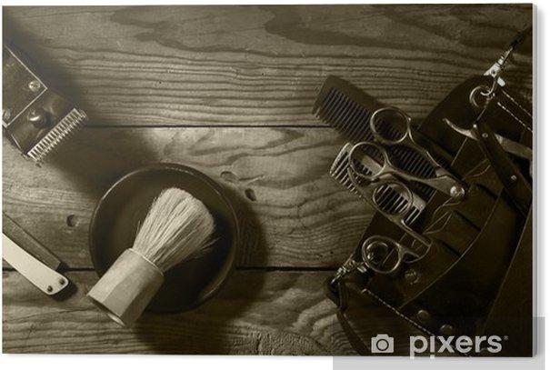 Impressão em PVC Jogo do vintage de Barbershop.Toning sepia - Estilo de Vida