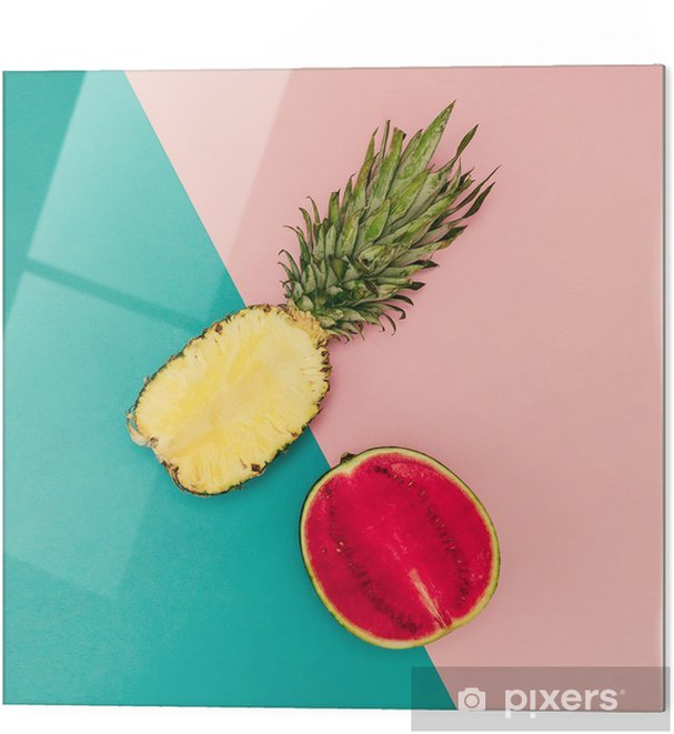 Impressão em vidro Mix Tropical. Abacaxi e melancia. Estilo minimal - Estilo de Vida