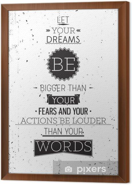 Grunge retro stil motiverende plakat med typografi Indrammet fotolærred -