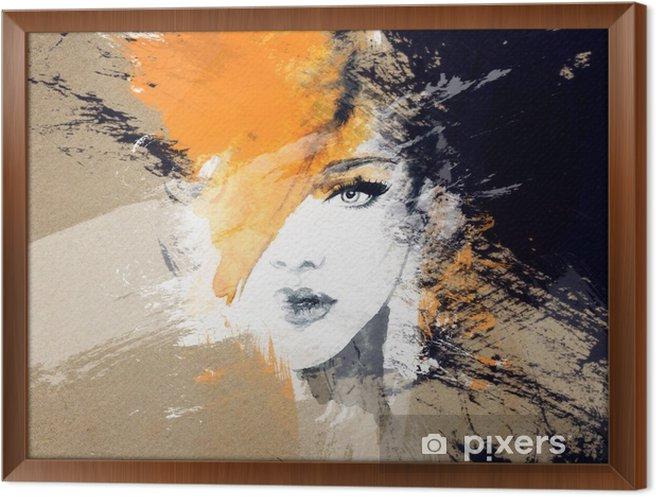 Kvinde portræt. abstrakt akvarel. mode baggrund Indrammet fotolærred - Mennesker