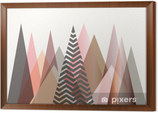 Ingelijst Canvas Abstract berglandschap in Scandinavisch stijlontwerp - Grafische Bronnen