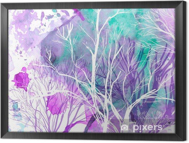 Ingelijst Canvas Abstract silhouet van bomen - Stijlen