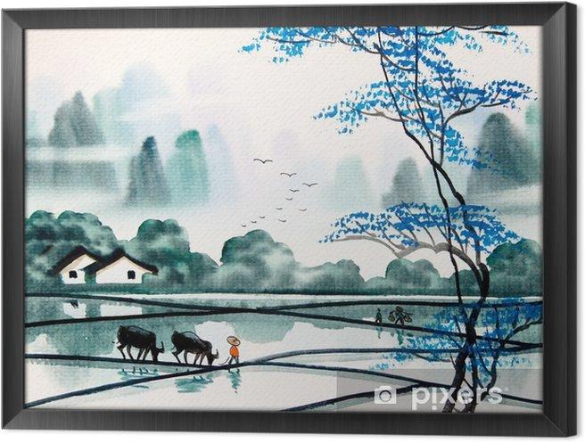 Ingelijst Canvas Chinese landschap aquarel painting__ - Landschappen