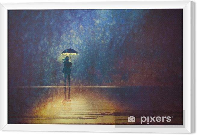 Ingelijst Canvas Eenzame vrouw onder paraplu lichten in het donker, digitaal schilderen - Hobby's en Vrije tijd