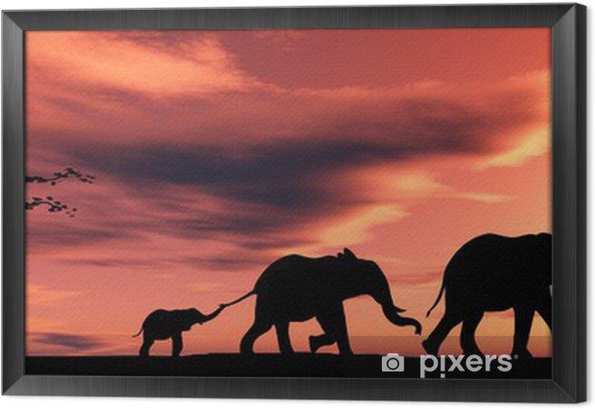 Ingelijst Canvas Familie olifanten - Thema's