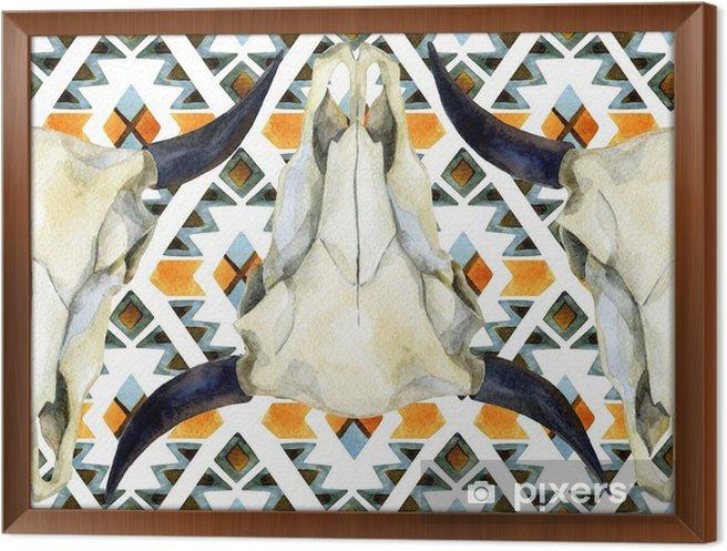 Ingelijst Canvas Geometrische etnische naadloze patroon met koeschedel - Dieren