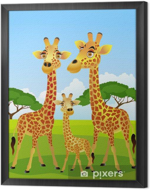 Ingelijst Canvas Giraffamilie cartoon - Student