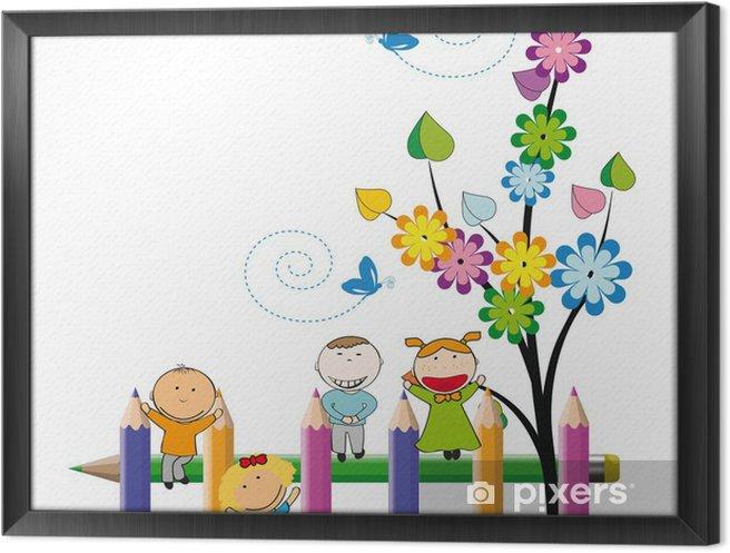 Ingelijst Canvas Happy kids - Kinderkamer