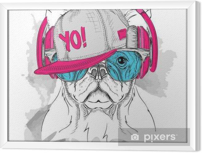Ingelijst Canvas Het beeld van de hond in de glazen, hoofdtelefoons en hip-hop hoed. Vector illustratie. - Dieren