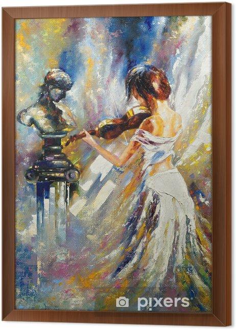 Ingelijst Canvas Het meisje speelt een viool - Stijlen