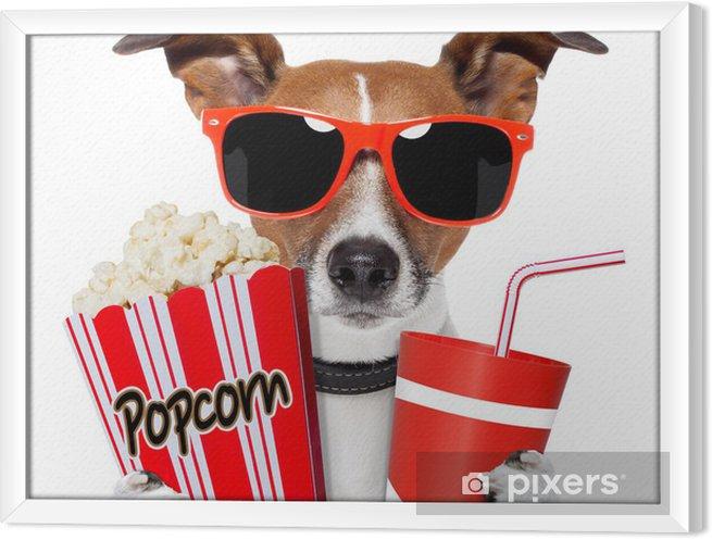 Ingelijst Canvas Hond kijken van een film - Muursticker