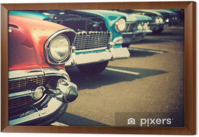 Ingelijst Canvas Klassieke auto's op een rij - Transport
