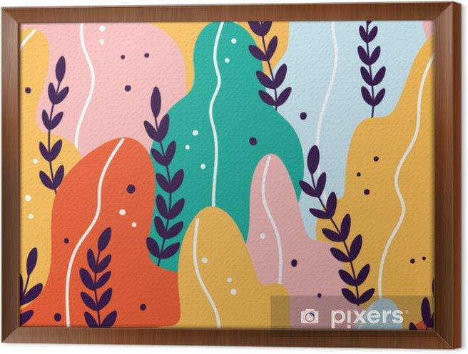 Ingelijst Canvas Kleurrijk exotisch naadloos patroon met takken en bladeren - Bloemen en Planten