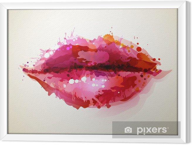 Ingelijst Canvas Mooie dames lippen gevormd door abstracte vlekken -