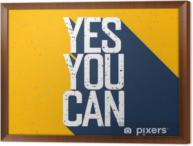 """Ingelijst Canvas Motieven affiche met het van letters """"Yes You Can"""". Schaduwen, op ye - Grafische Bronnen"""