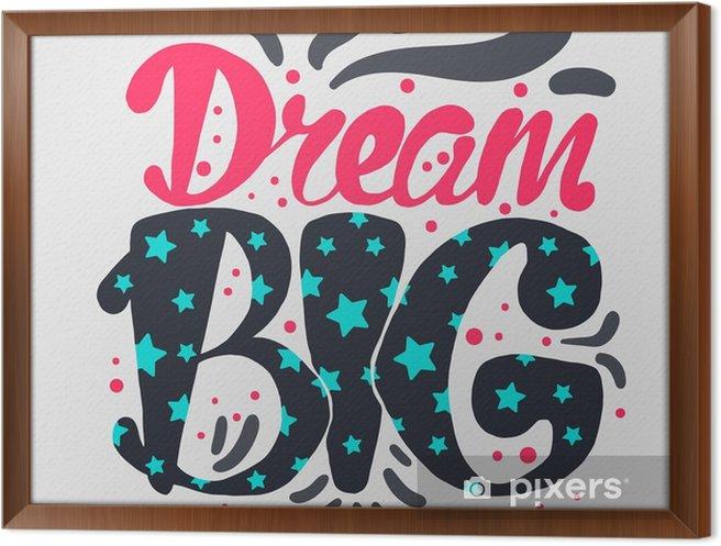 Ingelijst Canvas Motivatie en Dream Belettering Concept - Gevoelens, Emoties en Staten van Geest