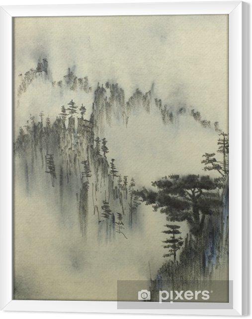 Ingelijst Canvas Mountain Pine en mist - Hobby's en Vrije tijd