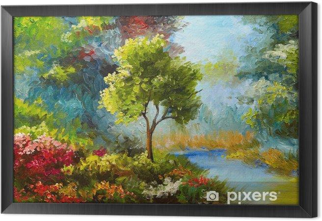 Ingelijst Canvas Olieverfschilderij, bloemen en bomen in de buurt van de rivier, zonsondergang - Hobby's en Vrije tijd