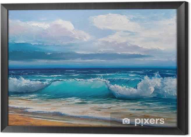 Ingelijst Canvas Olieverfschilderij van de zee op doek. - Hobby's en Vrije tijd