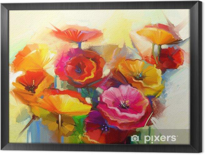 Ingelijst Canvas Olieverfschilderijstilleven van gele, roze en rode papaver - Hobby's en Vrije tijd