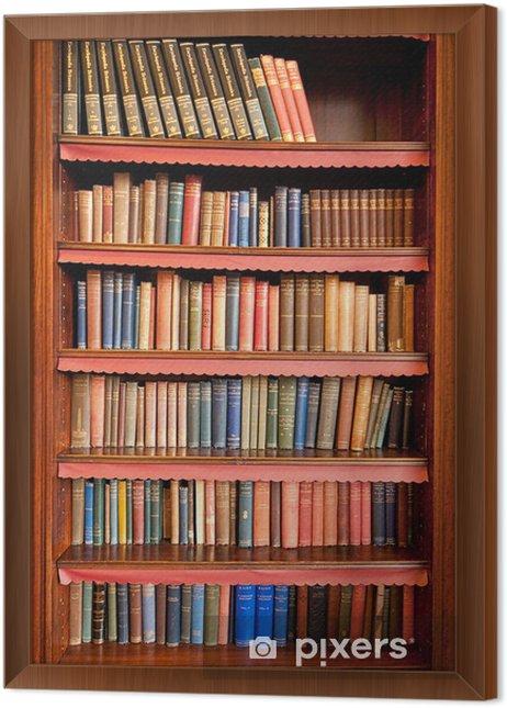 Ingelijst Canvas Oude boekenplank met rijen van boeken in oude bibliotheek - bibliotheek