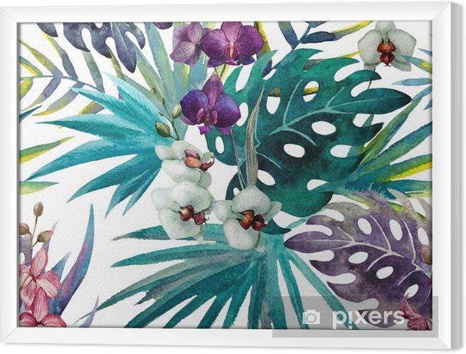 Ingelijst Canvas Patroon met bladeren van de orchidee hibiscus, waterverf - iStaging