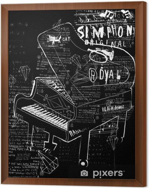 Ingelijst Canvas Pianino - Muziek