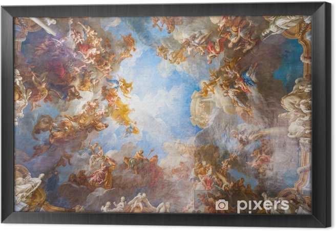 Ingelijst Canvas Plafondschildering van Palace Versailles in de buurt van Parijs, Frankrijk - Monumenten