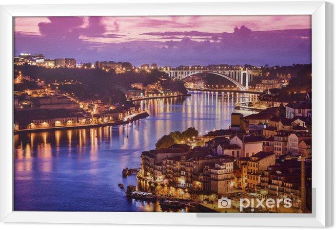 Ingelijst Canvas Porto, Portugal aan de rivier de Douro - Europa