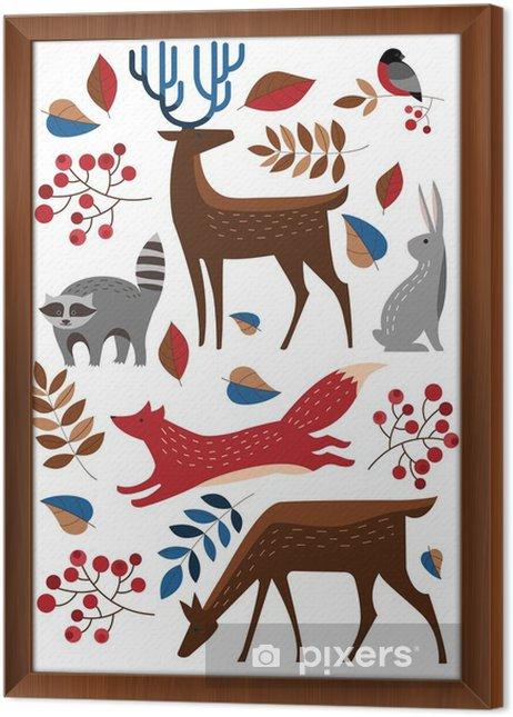 Ingelijst Canvas Set Vector dieren in het bos. Raccoon, herten, vossen, konijnen, hazen, goudvink. Winter bos. - Dieren