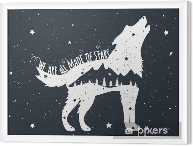 Ingelijst Canvas Vector illustratie met huilende wolf, bergen en bomen - Dieren