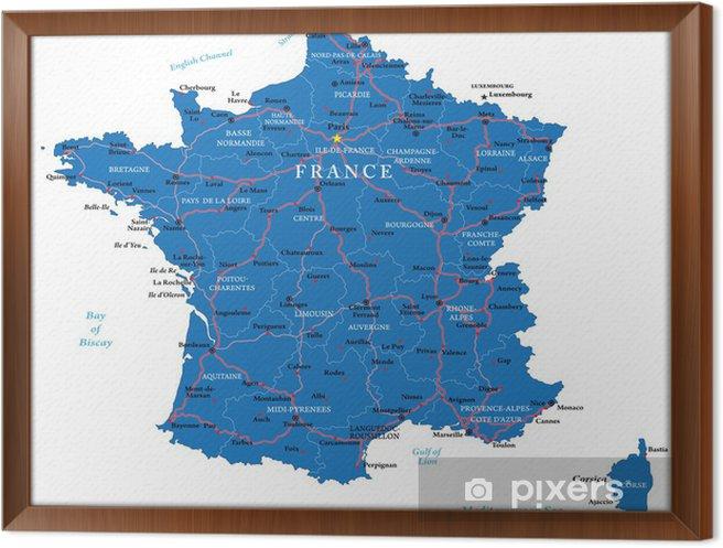 Innrammet Lerret Frankrike Kart Pixers Vi Lever For Forandring