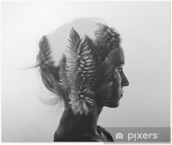 Luova kaksinkertainen alttius muotokuva nuori tyttö ja kukat, yksivärinen Itsestäänkiinnittyvä juliste - Ihmiset