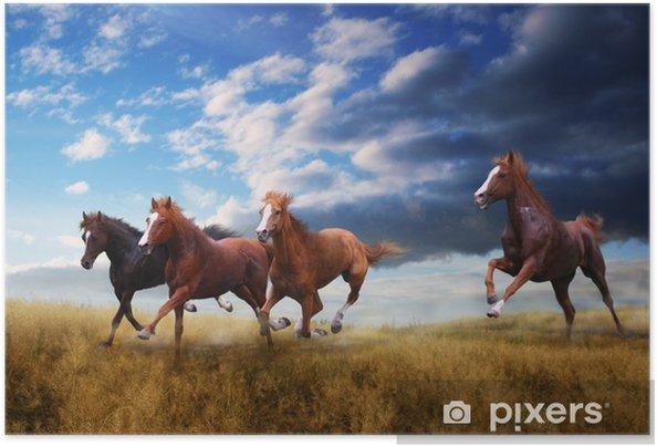 Pieni hevosrikko hyppää nopeasti steppen yli Itsestäänkiinnittyvä juliste - Eläimet