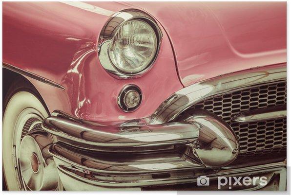 Retro-tyylinen kuva edessä klassisesta autosta Itsestäänkiinnittyvä juliste - Teillä