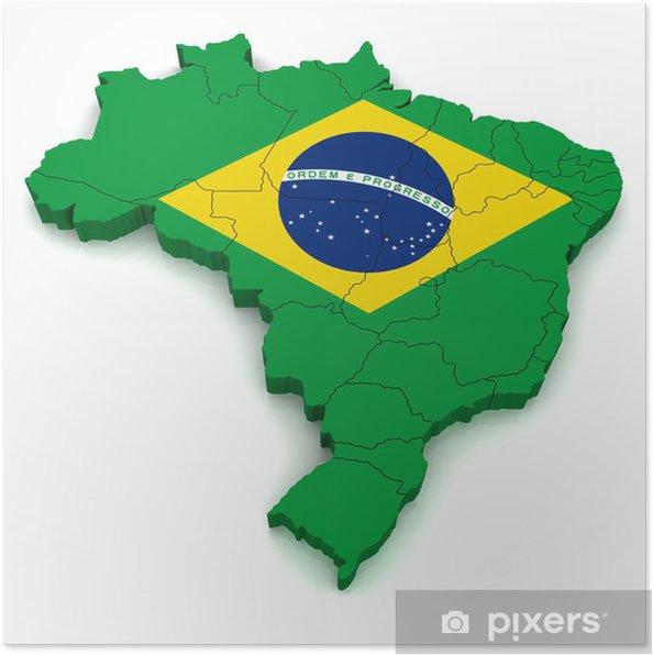 3d Kartta Brazil Juliste Pixers Elamme Muutoksille