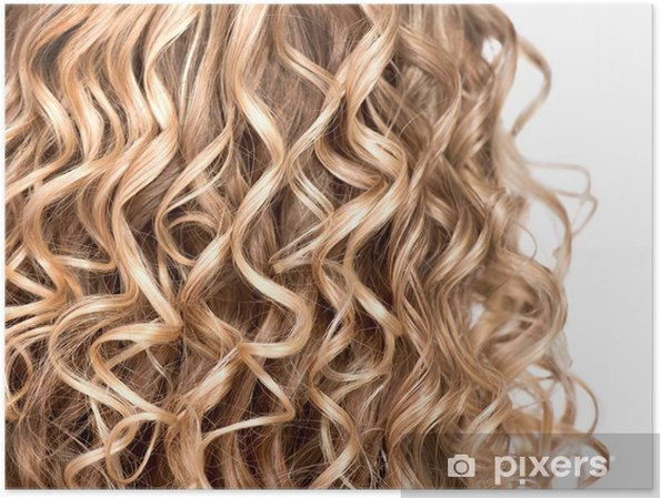 Aaltoileva kihara blondi hiukset lähikuva. karvatyypin koostumus Juliste b164e07506