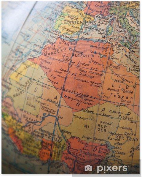 Afrikka Ja Eurooppa Kartta Osa Vanhaa Maapalloa Juliste Pixers