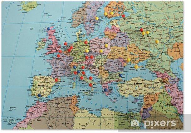 Euroopan Kartta Juliste Pixers Elamme Muutoksille