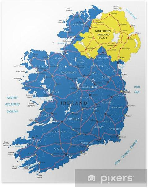 Irlannin Kartta Juliste Pixers Elamme Muutoksille