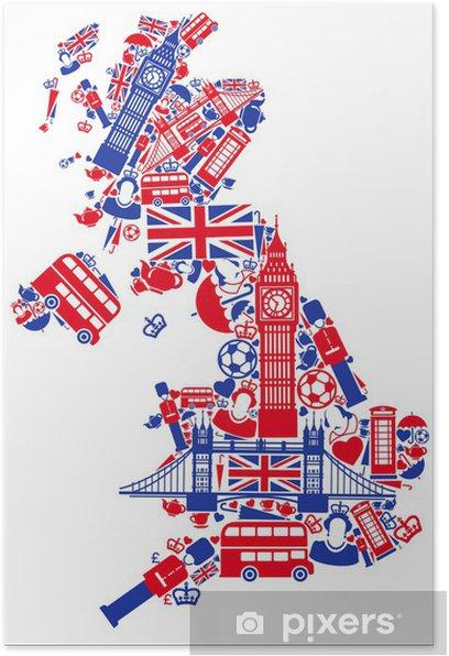 Iso Britannian Kartta Juliste Pixers Elamme Muutoksille